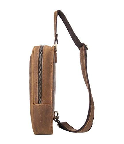 Genda 2Archer Ehrfürchtige Umhängetasche Leder Crossbody Brusttasche (Dunkel Khaki) Dunkel Khaki