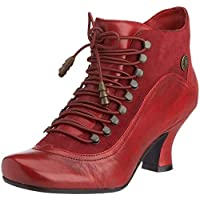 #Hush Puppies Vivianna Red Leather Womens Ankle Boots