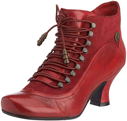 #Hush Puppies Vivianna Red Leather Womens Ankle Boots -