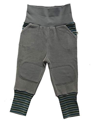 Baby Kinder Hose Nickyhose Bio-Baumwolle 8 Farben Wählbar GOTS Nicki Strampelhose Jungen Mädchen Gr. 50/56 bis104 (74/80, grau-hell)