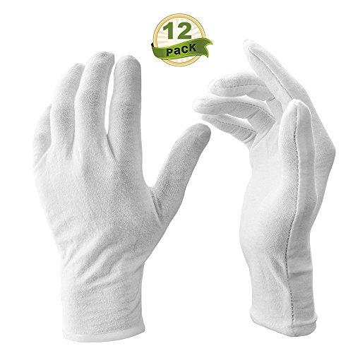 Festnight 12 Paar/Los Weiße Weiche Baumwolle Zeremonielle Handschuhe Stretchable Futterhandschuh für Männlich-weibliche Bedienung/Kellner/Fahrer Handschuhe, Münze Schmuck Silber Inspektion Hands