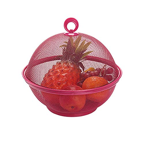 Kitchen Storage Apple Shape Mesh Iron Fruit Basket Kitchen Countertop Fruit Bowl Vegetable Holder with Cover, Dining Table Decoration Collecting Box,Red - Red Fruit Bowl