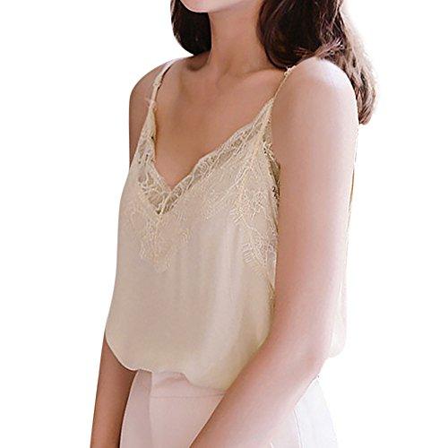 QUINTRA Damen Casual Lace Sleeveless Weste Shirt Tank Bluse Tops (Princess-hund-tank)