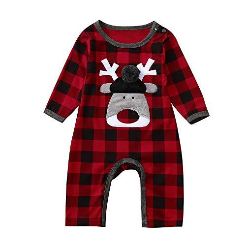 Shopaholic0709 Neugeborene Kleidung, Baby-Junge-Mädchen Langarm-Plaid Christmas Fawn One -