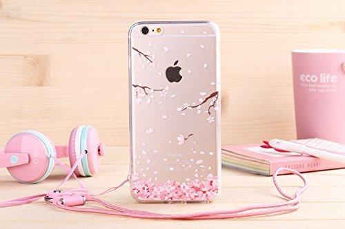 Aprtwin Étui Transparent en TPU Silicone pour Apple iPhone 6 / 6S en Transparent Fleur de Prunier Design[Style 01] #Fleur de Prunier #01