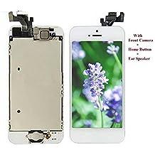 LCD Pantalla Táctil Reemplazo Completo de Pantalla con Botón de Inicio y Cámara de Alta Calidad Nuevo (Blanco-Iphone 5)