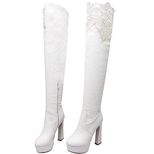 ENMAYER Femmes Nior ENMAYER Femmes Nubuck Mid Heeled Toe Round Over Cuissardes Blanc