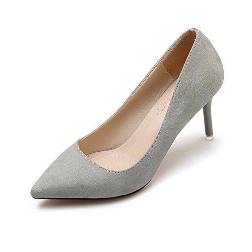 Damen Pumps Spitze Einfarbige Slip On Stilettos Moderne Nachtclubsschuhe Grau