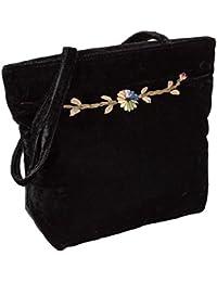 Black Velvet Long Strap Shoulder Bag, Vintage Rose Embroidered Top Handle Purse By Hatquarters