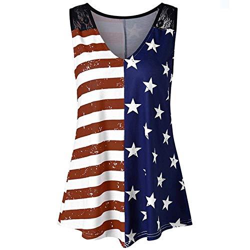 AiBarley Women American Flag Print Lace Insert V-Neck Tank Tops Summer Plus Size Shirt Blouse (Multicolor B, XXXL)