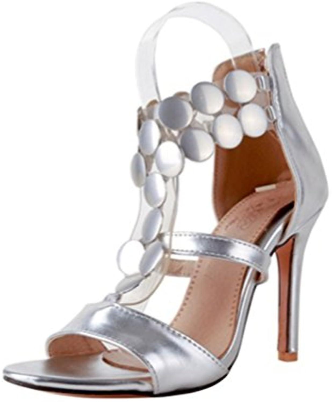 QPYC Donne stiletti su misura sandali Open Toe Fibbia Rivetto in pelle lucida Dimensione Sandali da palcoscenico... | Un'apparenza Elegante  | Uomo/Donna Scarpa