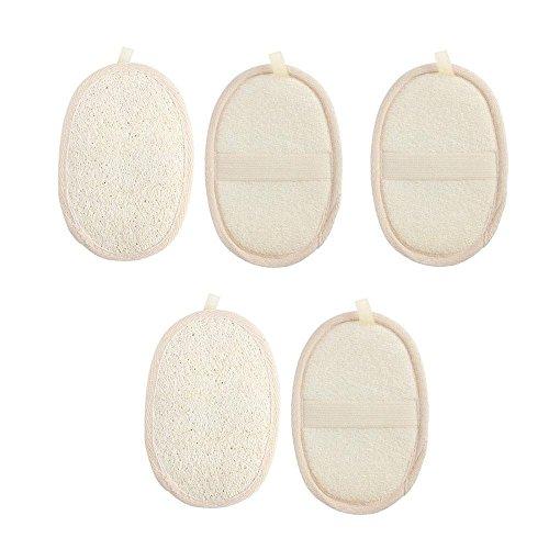 Exfoliant Loofah Serviette, niceEshop (TM) 5 pièces Matériau naturel Loofah éponge à récurer Cleanner Skin Care pour spa, bain et douche/pour homme et femme