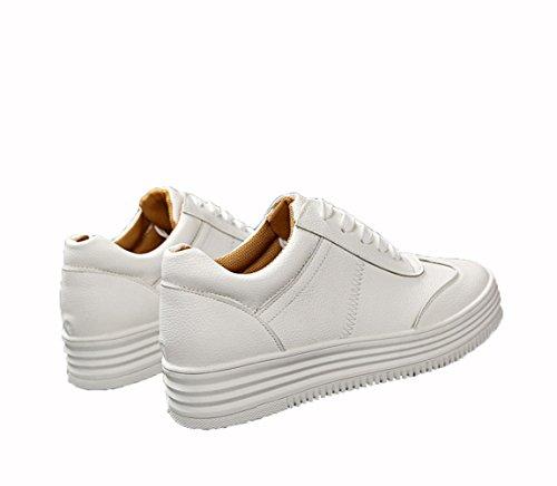 WZG Nouvelles chaussures en dentelle occasionnels chaussures plates chaussures blanches étudiants glisser chaussures simples ronds à fond épais White