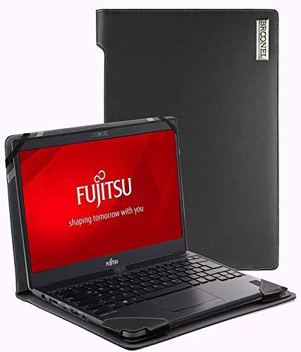Broonel - Profile Series - Schwarzes Premium Leder Fall/Hülle Trage Tasche kompatibel mit der Fujitsu Tablet Lifebook T938 13.3