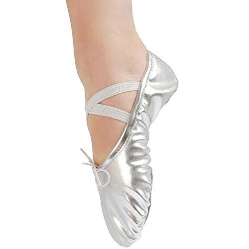 E Support™ Ballettschuhe Ballerina Ballettschuhe Ballettschläppchen Tanzschuhe Ballettschläppchen aus Leinen für Mädchen Frauen Damen Kinder Silber Leder