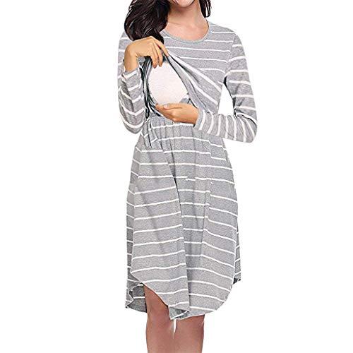ZEZKT Kleider für Schwangere, Umstandsmode Womens Mutterschaft Kleid Pflege Baby Falten Schwangerschaft Streifen Kleidung Umstandskleid Damen Schwangere -