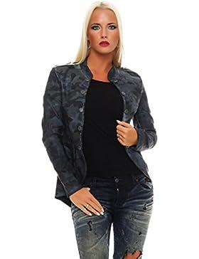ZARMEXX Chaqueta Blazer De Mujer Militar Chaqueta Camuflaje/ rosa estilo uniforme Chaqueta de entretiempo Informal