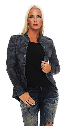 ZARMEXX Femmes Veste Blazer Veste Militaire Camouflage/Roses uniforme-style Veste mi-saison décontracté - Bleu, XL / 42
