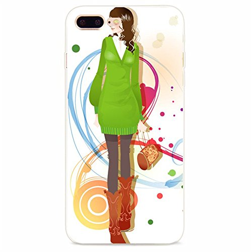 Coque iPhone 7 Plus, Vanki® Absorption des chocs Ultra Mince TPU Bumper Protection Goutte,aux rayures pour iPhone 7 Plus-Fashion girl 8