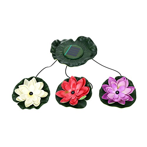 Anself 3LED Set von Sonnenenergie in Form von Blume Lotos schwimmend Deko-Die Nacht Nachtlicht Lampen für die Quelle der Teich des Garten-Pool Dekoration