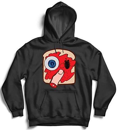 Halloween Creepy Sandwich Eye Finger_007325 Hooded Pullover Unisex MD Black Hoodie