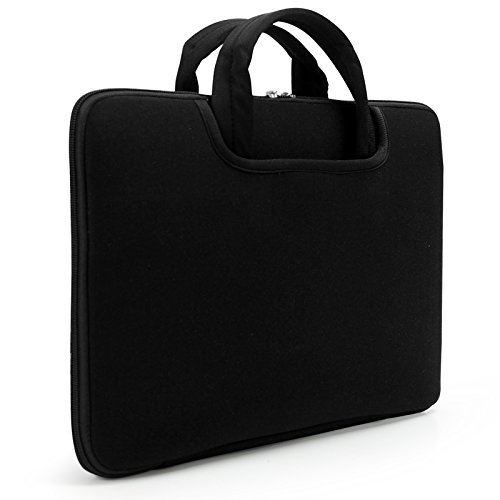 sinoguo-black-neoprene-water-resistance-sleeve-handbag-case-attached-one-pocket-outside-with-flannel
