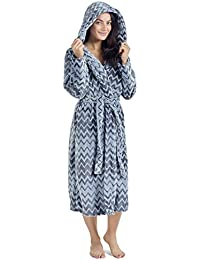 46f2d686ba CityComfort Ladies Dressing Gown Fluffy Super Soft Hooded Bathrobe for  Women Plush Fleece Perfect for Spa