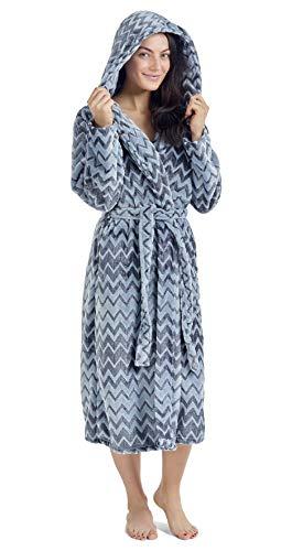 CityComfort Damen Morgenmantel Pinguin Eule Damen Kleider Plüsch Robe Neuheit Tier Kapuze Super Soft Touch Fleece Mit Kapuze Bademäntel für Sie! (XL, zweifarbig grau) - Damen Zweifarbige