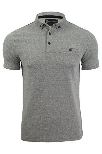 Herren Polo Hemd von Dissident - texturiertes Jerseymaterial, gestreift Mid Grau Marl