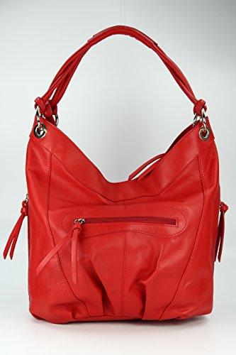 BELLI ital. Nappa Leder Shopper Handtasche Damentasche - Farbauswahl - 35x31(mittig)x17 cm (B x H x T) Rot
