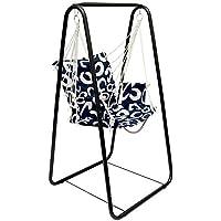 Columpio AMANKA completo silla y soporte   Marco metálico con sillón  Columpio con reposabrazos y soporte por las espaldas   Para niños y adultos   para el interior / exterior   Azul con círculos de la mitad