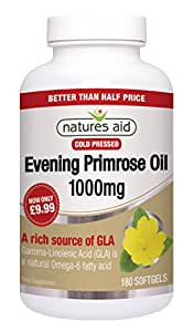 Natures Aid Evening Primrose Oil 1000mg (Cold Pressed) - Pack of 180 Capsules