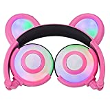 Auriculares Glowing Bear Ear Earphones Led Ear Headphone Cat Headphone Flashing Glowing Headset Auriculares para Juegos para Adultos Y Niños Pink Spain