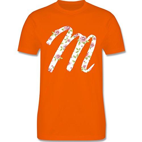 Anfangsbuchstaben - M Rosen - Herren Premium T-Shirt Orange