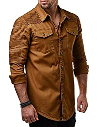 BUSIM Men's Long Sleeve Shirt Casual Slim Button Pocket Pleated Grooming Excellent Fashion T-Shirt Lapel Tops...