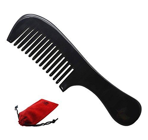 Meta-C Natürliche handgemachte Buffalo Horn-Haar-Kamm Rundgriff (Wide Zahn) -