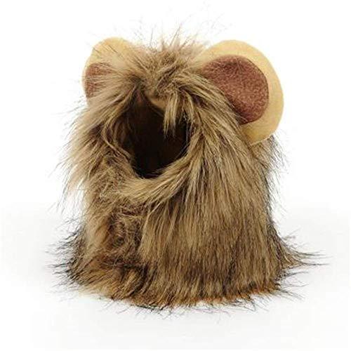 Lion Mane Perücke für Hund Katze Halloween Dress Up mit Ohren lebensechte Haustier Hut Kostüm Plüsch Haar Kopfbedeckungen klein und Welpen Weihnachten Ostern Festival Aktivität (Lion's Mane Hunde Kostüm)