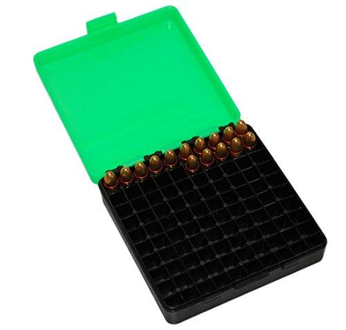 9 mm Patronenbox /.380 Auto Ammo Box für 100 Patronen Patronen Box für Wiederlader ... (Grün) -
