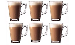 Set of 6 Premium Latte Glasses Mugs 240ml (8.8oz) - Perfect for Espresso, Cappuccino, Coffee, Tea, Hot Chocolate, Hot Drinks, Tassimo & Dolce Gusto Coffee Machines Presented by Kitchen Stars