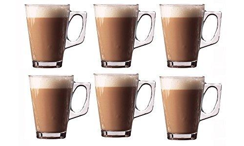 6er Set Premium Latte Gläser Becher 240ml (8.8oz) - perfekt für Espresso, Cappuccino, Kaffee, Tee, heiße Schokolade, heiße Getränke, Tassimo & Dolce Gusto Kaffeemaschinen, Kitchen Stars