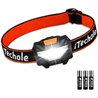 iTechole LED Head Torch Lightweight COB Headlamp with 3 Modes, IPX4 Waterproof, Super Bright 150 Lumens LED Headlight for Kids&Adults, Running, Fishing, Camping, Hiking, DIY[3*AAA Batteries Included]