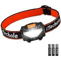 Lampe Frontale Puissante, Techole Torche Frontale LED, 140 LM, 3 Modes d'Eclairage, Réglable, Poids Léger pour Course Marche Camping Cyclisme Éclairage Extérieur Cadeau pour Enfants, 3 Piles AAA Inclus