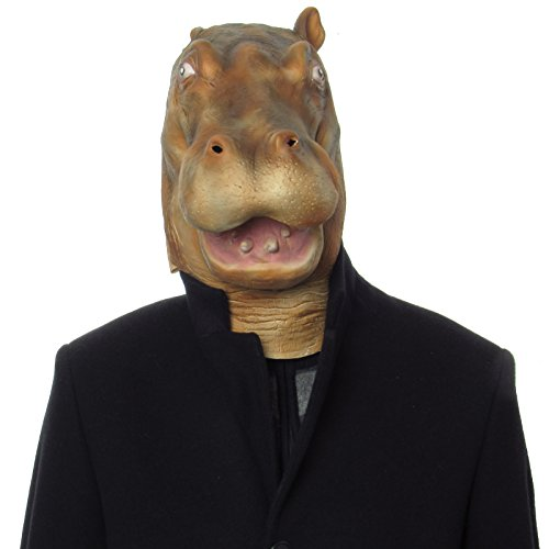 Image of Animal Mask Latex Hippo Animal Kingdom Adults Full Head Complete Fancy Dress Party Mask Large Mouth Halloween