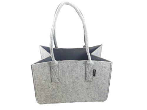 Shopping Bag aus Filz, große Einkaufs-Tasche mit Henkel, faltbare Kaminholztasche zur Aufbewahrung von Holz, vielseitige Tragetasche auch zur Spielzeug Aufbewahrung, Farbe grau/dunkelgrau