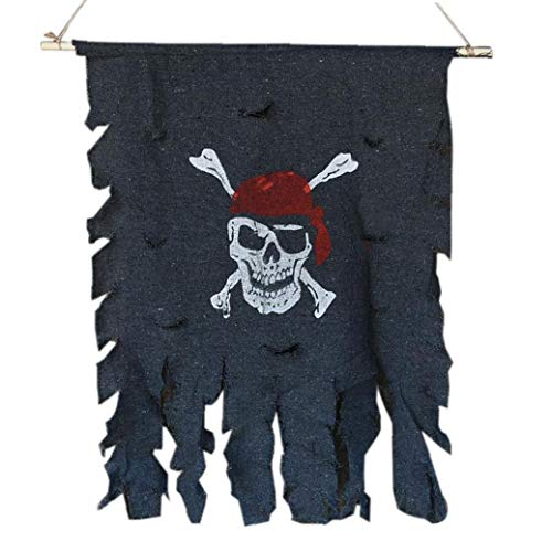 Halloween Kostüm Tattered Piratenflagge Red Bandana Skull & Crossbones Hanging Flag (S)
