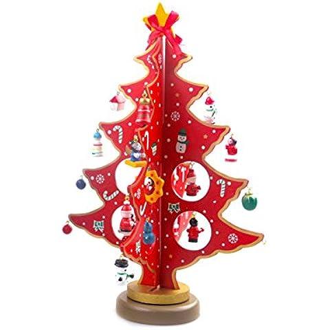 Albero di Natale di Legno, Artificiale Albero di Natale miniatura Ornamenti di natale Decorazione / Natale, Rosso