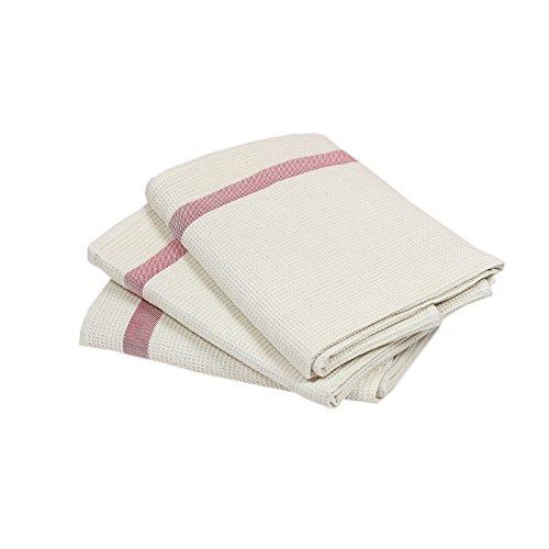 3er Set Trockentücher aus 100% Baumwolle Sparpaket Waffelpique Tuch ca. 50x70 cm Geschirrtuch Küchentuch Creme Küche Geschirrtuch Creme
