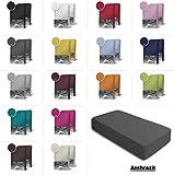 one-home 2er Set Jersey Spannbettlaken Spannbetttuch Baumwolle Topper Boxspringbett Laken, Farbe:Anthrazit, Maße:2er Pack 90-100 x 200 cm