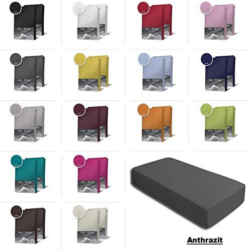 one-home 2er Set Jersey Spannbettlaken Spannbetttuch Baumwolle Topper Boxspringbett Laken, Farbe:Anthrazit, Maße:2er Pack 180-200 x 200 cm