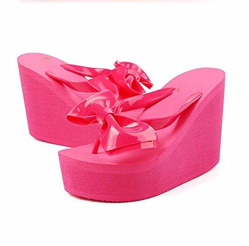 BBSLT-10Cm Alto Con Che Il Filtro Bow Tie Presidente Del Campo E Durante L'Estate Anti-Slittamento Spessa Trascinare I Clip Raffreddare Pan Di Spagna Scarpe Da Spiaggia Con La Pendenza. Pink